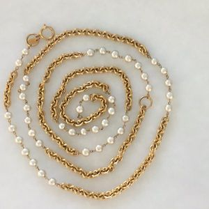 """Chanel gold and pearl chain belt or necklace 72"""""""